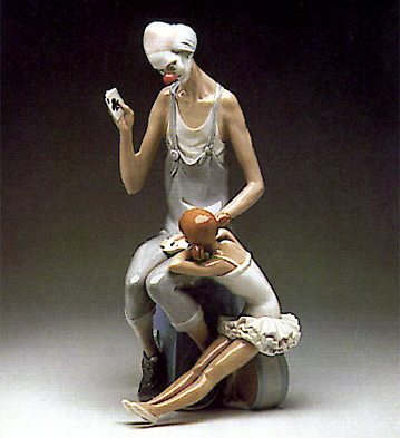Lladro clown and girl figurine