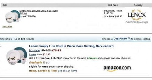 Lenox bone china Chirp dinnerware pattern Amazon prices