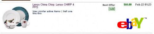 Lenox Bone China Chirp pattern Dinnerware ebay prices