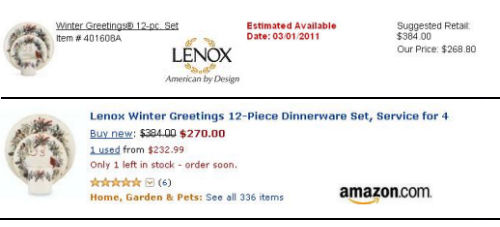 Lenox china winter greeting dinnerware pattern Amazon prices