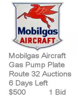 Mobilgas Aircraft Pump Plate Porcelain Sign