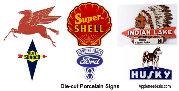 Old Die cut porcelain signs