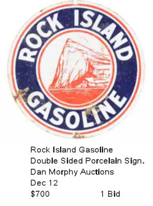 Rock Island Gasoline Porcelain Sign