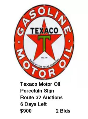 Texaco Motor Oil Round Porcelain Sign