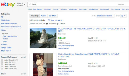 ebay Lldro figurines value page